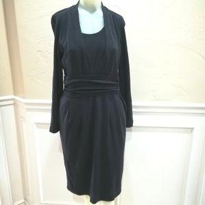 Nwt Rena Lange navy midi wool dress